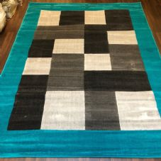 NEW MODERN BLOCK DESIGN RUGS TEAL 220X270CM 9X7FT APPROX GREAT QUALITY MATS